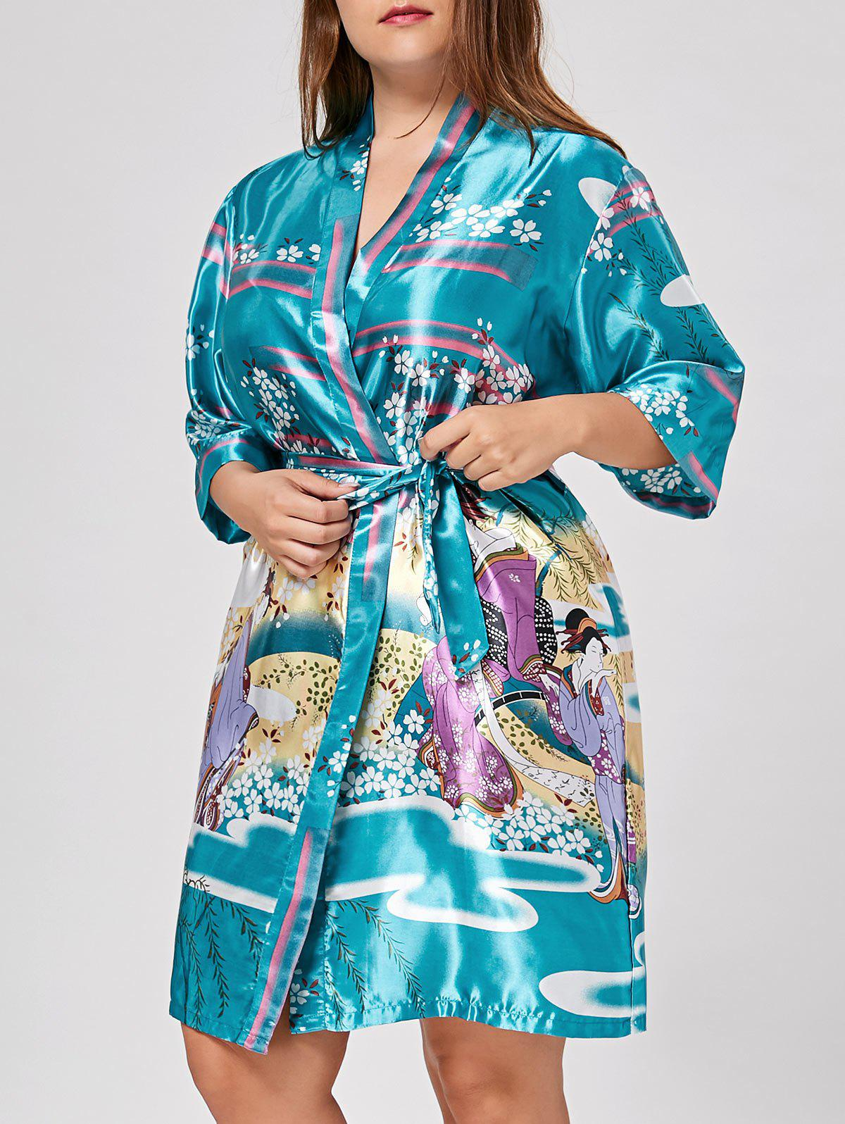 Plus Size Floral Satin Pajama KimonoWOMEN<br><br>Size: XL; Color: LAKE BLUE; Material: Polyester; Pattern Type: Floral; Embellishment: Sashes; Weight: 0.3000kg; Package Contents: 1 x Kimono  1 x Belt;