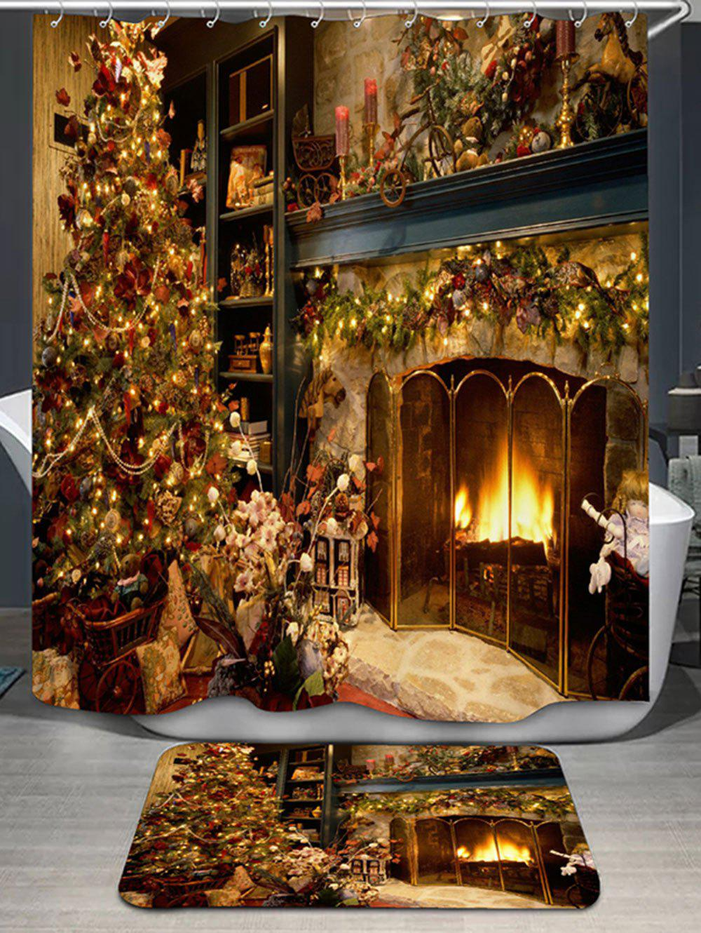 Christmas Fireplace Bath Curtain and RugHOME<br><br>Color: YELLOW; Products Type: Shower Curtains; Materials: Flannel,Polyester; Pattern: Print; Style: Festival; Package Contents: 1 x Shower Curtain 1 x Rug;