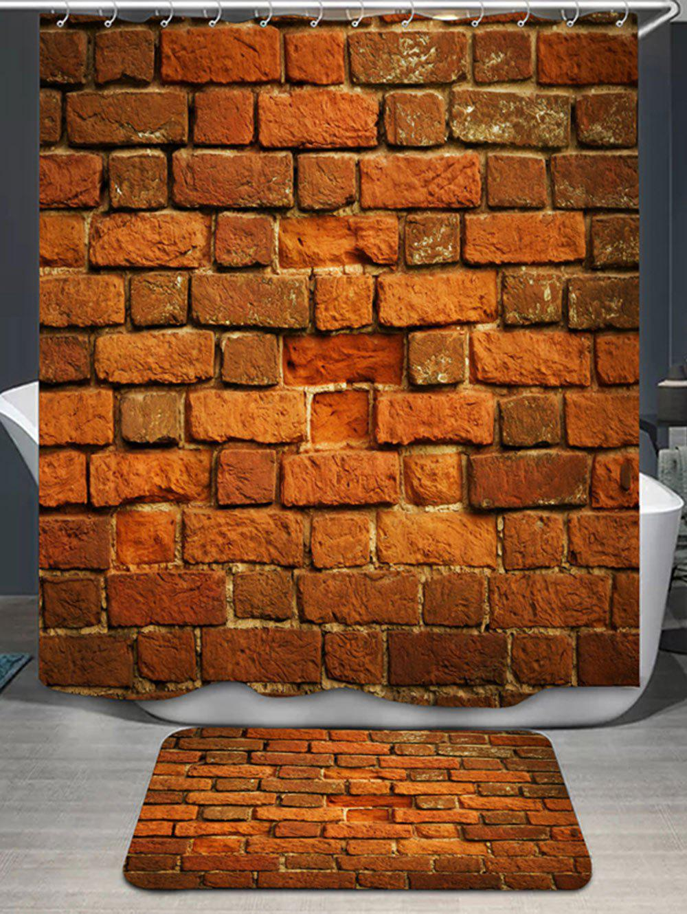 Sale Brick Wall Print Shower Curtain And Rug