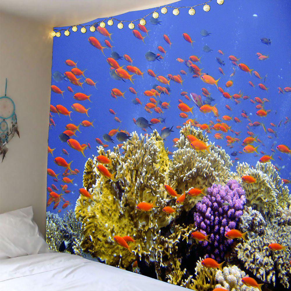Colorful W59 Inch * L51 Inch Coral Reef Fishs Waterproof