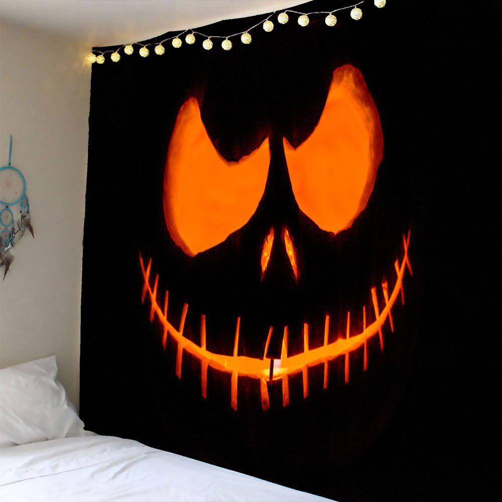 Halloween Smiling Face Ghost Waterproof Wall TapestryHOME<br><br>Size: W59 INCH * L59 INCH; Color: YELLOW; Style: Festival; Theme: Halloween; Material: Polyester; Feature: Removable; Shape/Pattern: Print; Weight: 0.2400kg; Package Contents: 1 x Tapestry;