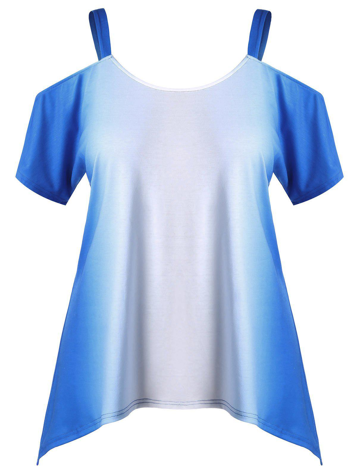 Best Plus Size Cold Shoulder Ombre Tee