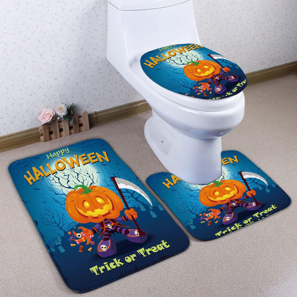 Best 3Pcs/Set Halloween Pumpkin Flannel Bath Toilet Rug