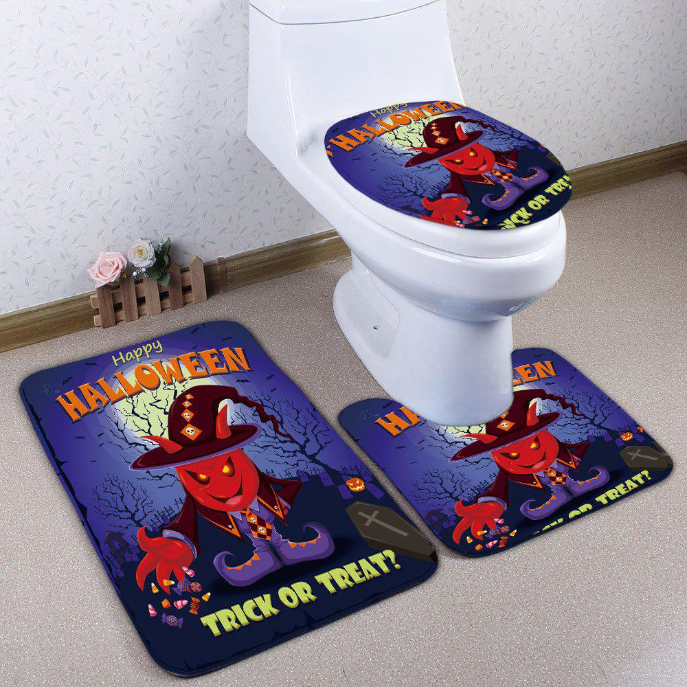 Cheap 3Pcs/Set Flannel Halloween Bath Toilet Mat