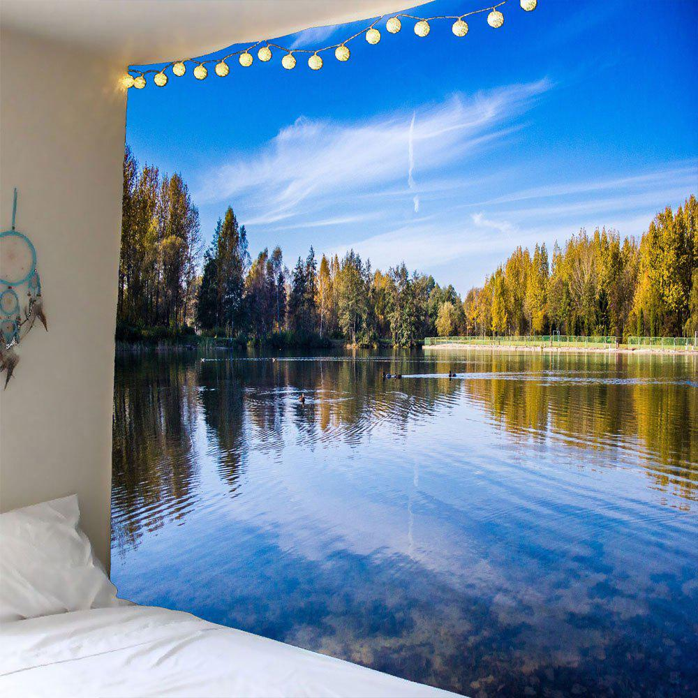 Lake Forest Sky Waterproof Hanging TapestryHOME<br><br>Size: W79 INCH * L59 INCH; Color: BLUE; Style: Natural; Theme: Landscape; Material: Polyester; Feature: Removable; Shape/Pattern: Print; Weight: 0.3000kg; Package Contents: 1 x Tapestry;