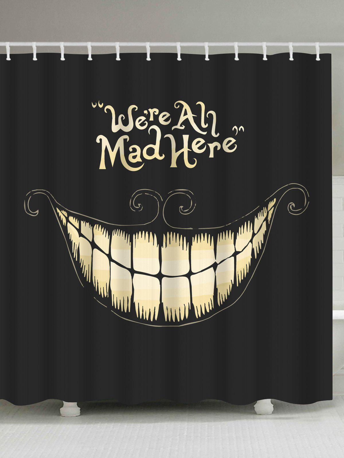 Funny Smiling Fabric Halloween Decor Shower CurtainHOME<br><br>Size: W71 INCH * L71 INCH; Color: BLACK; Products Type: Shower Curtains; Materials: Polyester; Pattern: Print; Style: Festival; Number of Hook Holes: W59 inch*L71 inch: 10; W71 inch*L71 inch: 12; W71 inch*L79 inch: 12; Package Contents: 1 x Shower Curtain 1 x Hooks (Set);