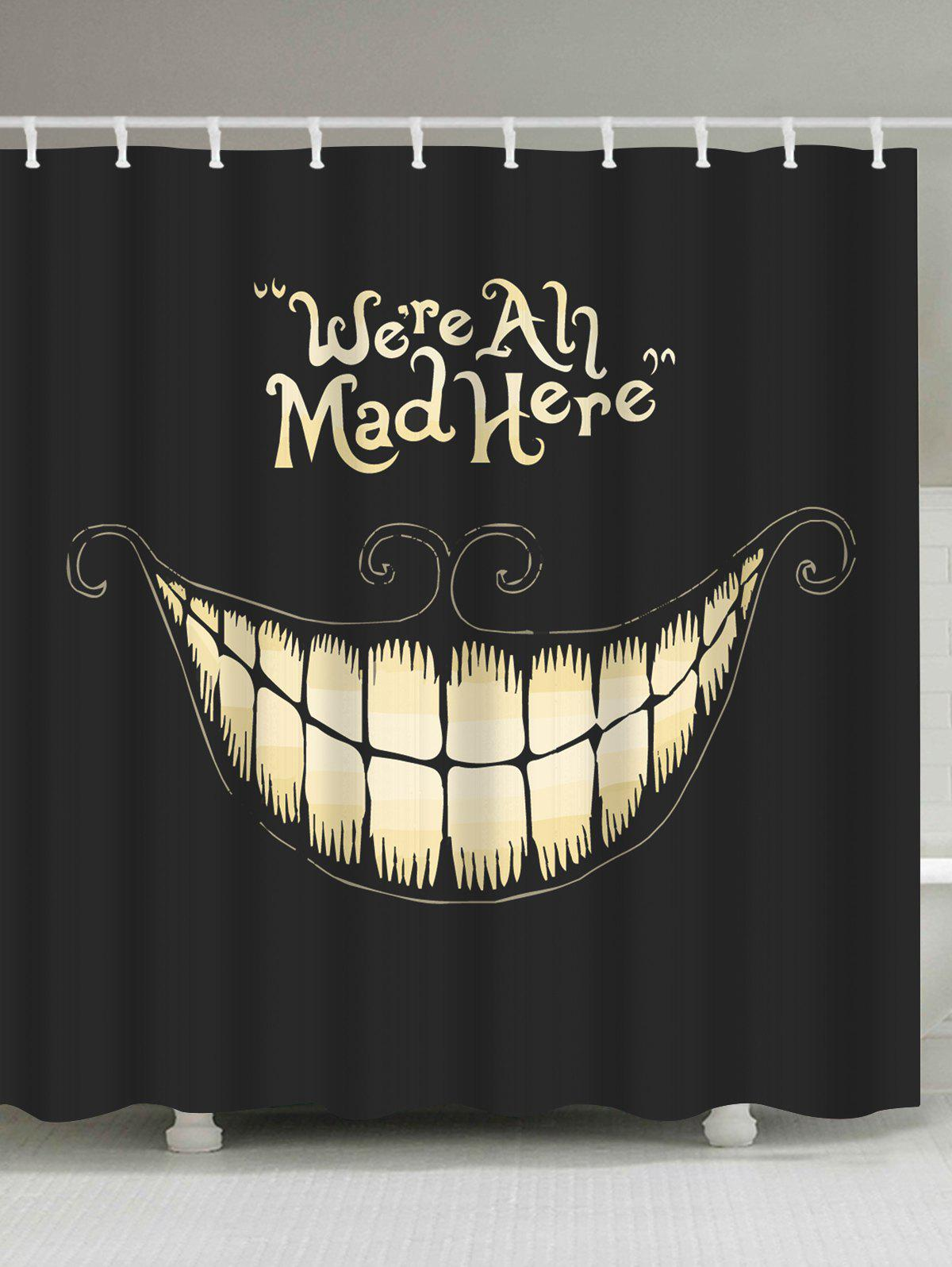 Funny Smiling Fabric Halloween Decor Shower CurtainHOME<br><br>Size: W59 INCH * L71 INCH; Color: BLACK; Products Type: Shower Curtains; Materials: Polyester; Pattern: Print; Style: Festival; Number of Hook Holes: W59 inch*L71 inch: 10; W71 inch*L71 inch: 12; W71 inch*L79 inch: 12; Package Contents: 1 x Shower Curtain 1 x Hooks (Set);