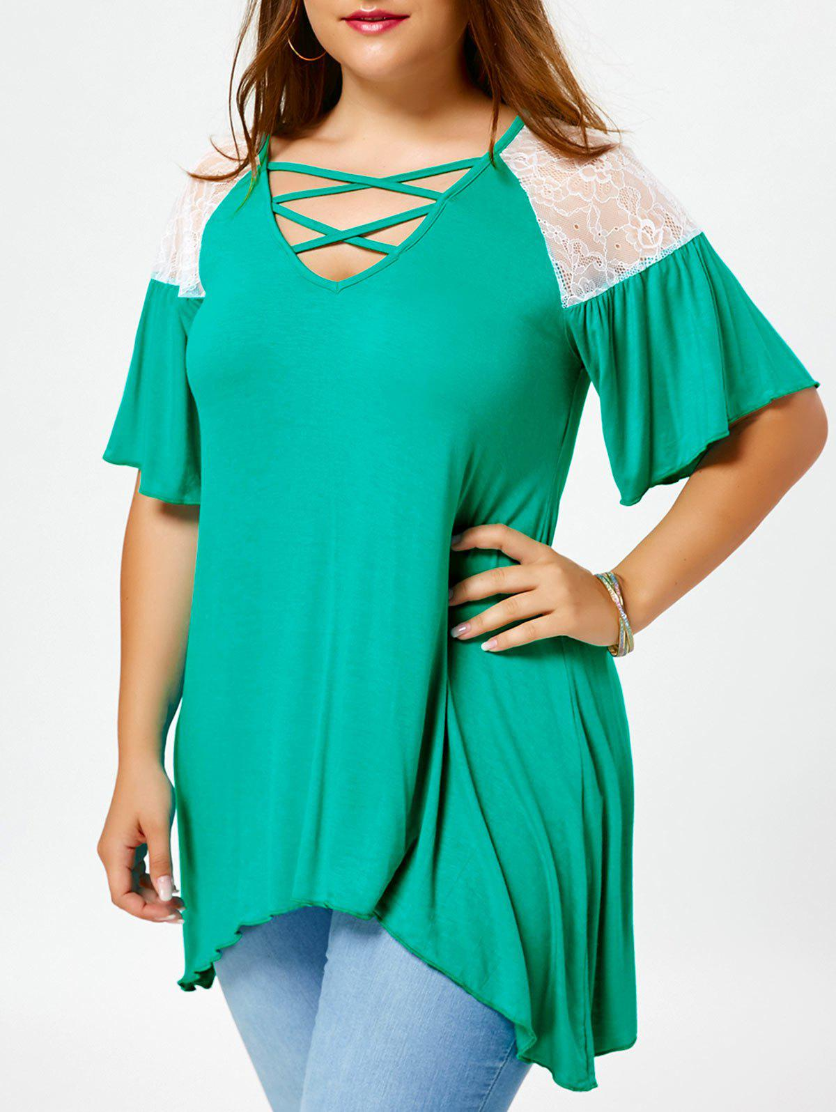 Criss Cross Drop Shoulder Plus Size Tunic T-ShirtWOMEN<br><br>Size: 4XL; Color: GREEN; Material: Polyester,Spandex; Shirt Length: Regular; Sleeve Length: Half; Collar: V-Neck; Style: Casual; Season: Fall,Spring,Summer; Sleeve Type: Flare Sleeve; Embellishment: Lace; Pattern Type: Solid; Elasticity: Elastic; Weight: 0.2600kg; Package Contents: 1 x T-Shirt;