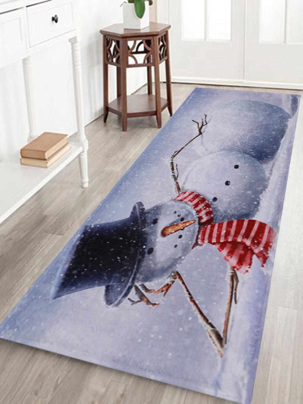 Lying Snowman Print Anti-skid Water Absorption Area RugHOME<br><br>Size: W24 INCH * L71 INCH; Color: GREY WHITE; Products Type: Bath rugs; Materials: Coral FLeece; Style: Trendy; Shape: Rectangle; Package Contents: 1 x Rug;