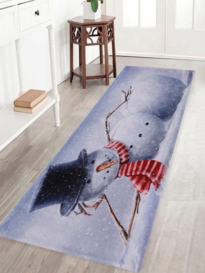 Lying Snowman Print Anti-skid Water Absorption Area RugHOME<br><br>Size: W16 INCH * L47 INCH; Color: GREY WHITE; Products Type: Bath rugs; Materials: Coral FLeece; Style: Trendy; Shape: Rectangle; Package Contents: 1 x Rug;