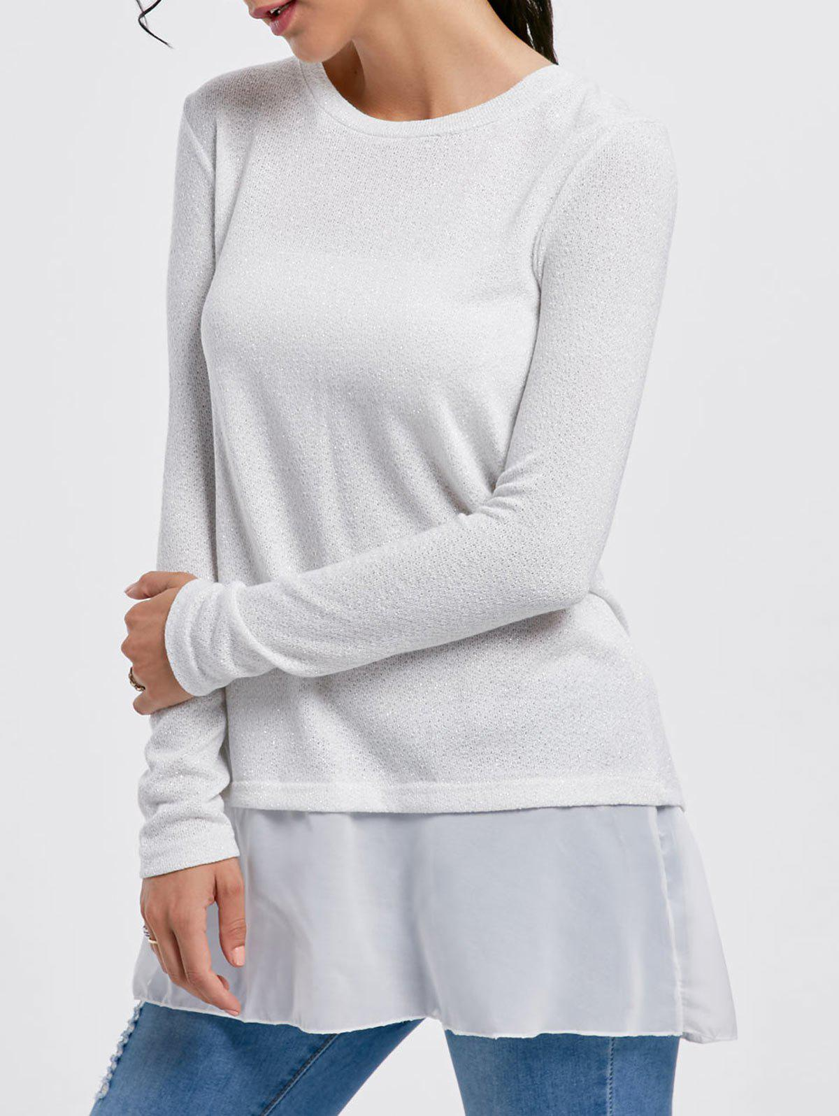 Stylish Scoop Neck Long Sleeve Chiffon Spliced Sequined Womens SweaterWOMEN<br><br>Size: M; Color: WHITE; Type: Pullovers; Material: Acrylic; Sleeve Length: Full; Collar: Scoop Neck; Style: Fashion; Pattern Type: Patchwork; Weight: 0.3100kg; Package Contents: 1 x Sweater;