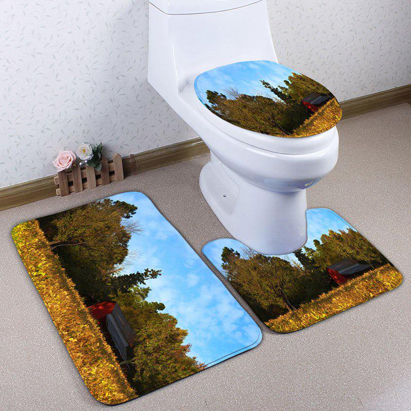 Best 3Pcs/Set Flannel Autumn Scenery Print Bath Toilet Rug