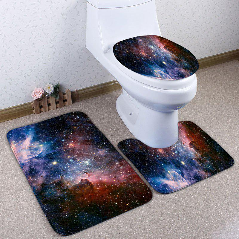 3Pcs/Set Star Sky Pattern Flannel Toilet Bath RugHOME<br><br>Color: STARRY SKY PATTERN; Products Type: Bath Mats; Materials: Flannel; Pattern: Scenic; Style: Fashion; Size: Pedestal Rug: 40*50CM, Lid Toilet Cover: 38*43CM, Bath Mat: 50*80CM; Package Contents: 1 x Pedestal Rug 1 x Lid Toilet Cover 1 x Bath Mat;