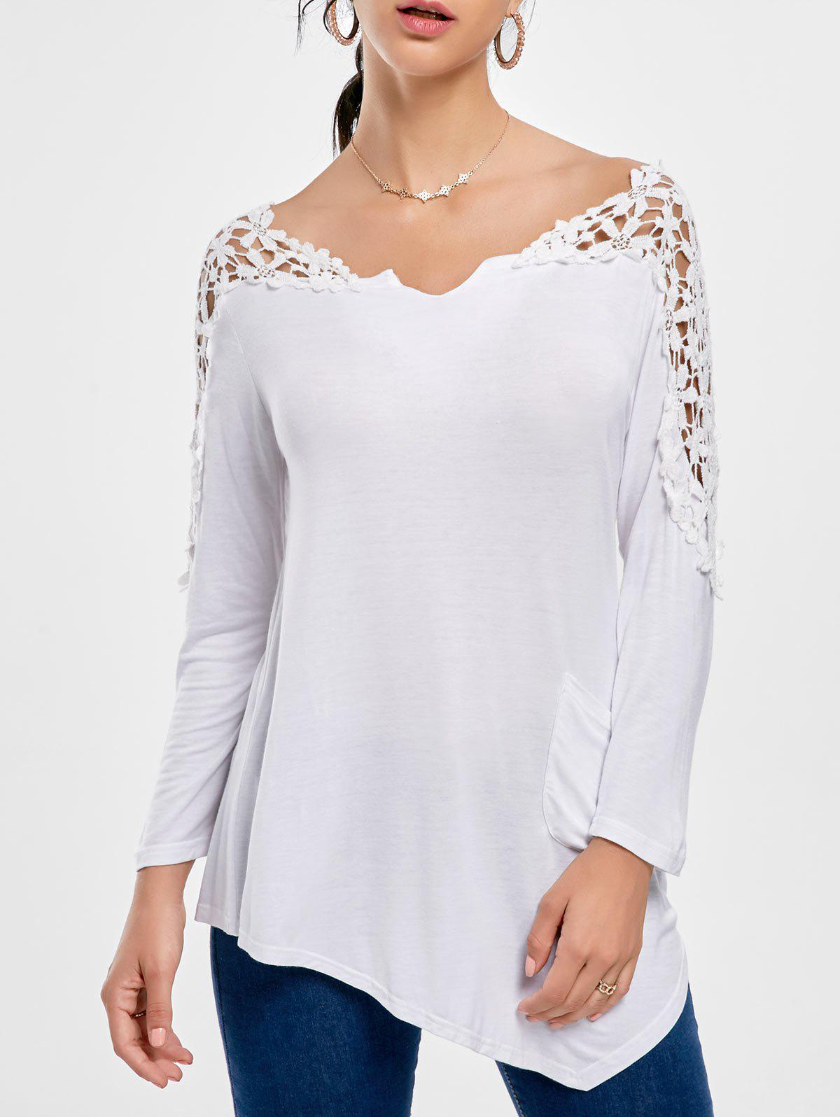Crochet Insert Long Sleeve Asymmetric Tunic TopWOMEN<br><br>Size: M; Color: WHITE; Material: Polyester; Shirt Length: Long; Sleeve Length: Full; Collar: Scoop Neck; Style: Fashion; Pattern Type: Solid Color; Season: Fall,Spring; Weight: 0.2500kg; Package Contents: 1 x Top;