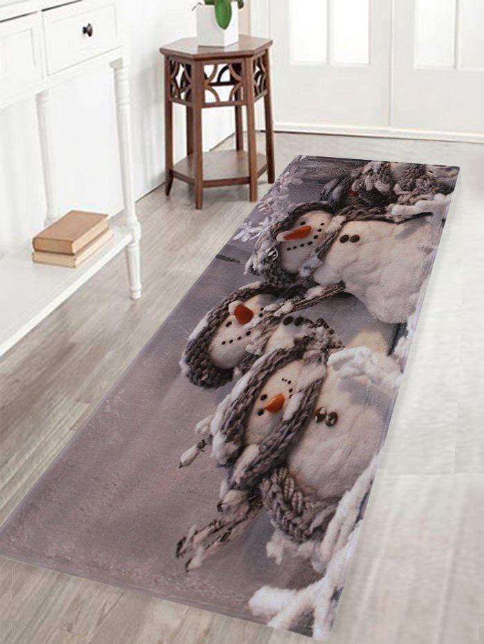 Winter Snowmen Print Anti-skid Water Absorption Area RugHOME<br><br>Size: W16 INCH * L47 INCH; Color: GRAY; Products Type: Bath rugs; Materials: Coral FLeece; Style: Trendy; Shape: Rectangle; Package Contents: 1 x Rug;
