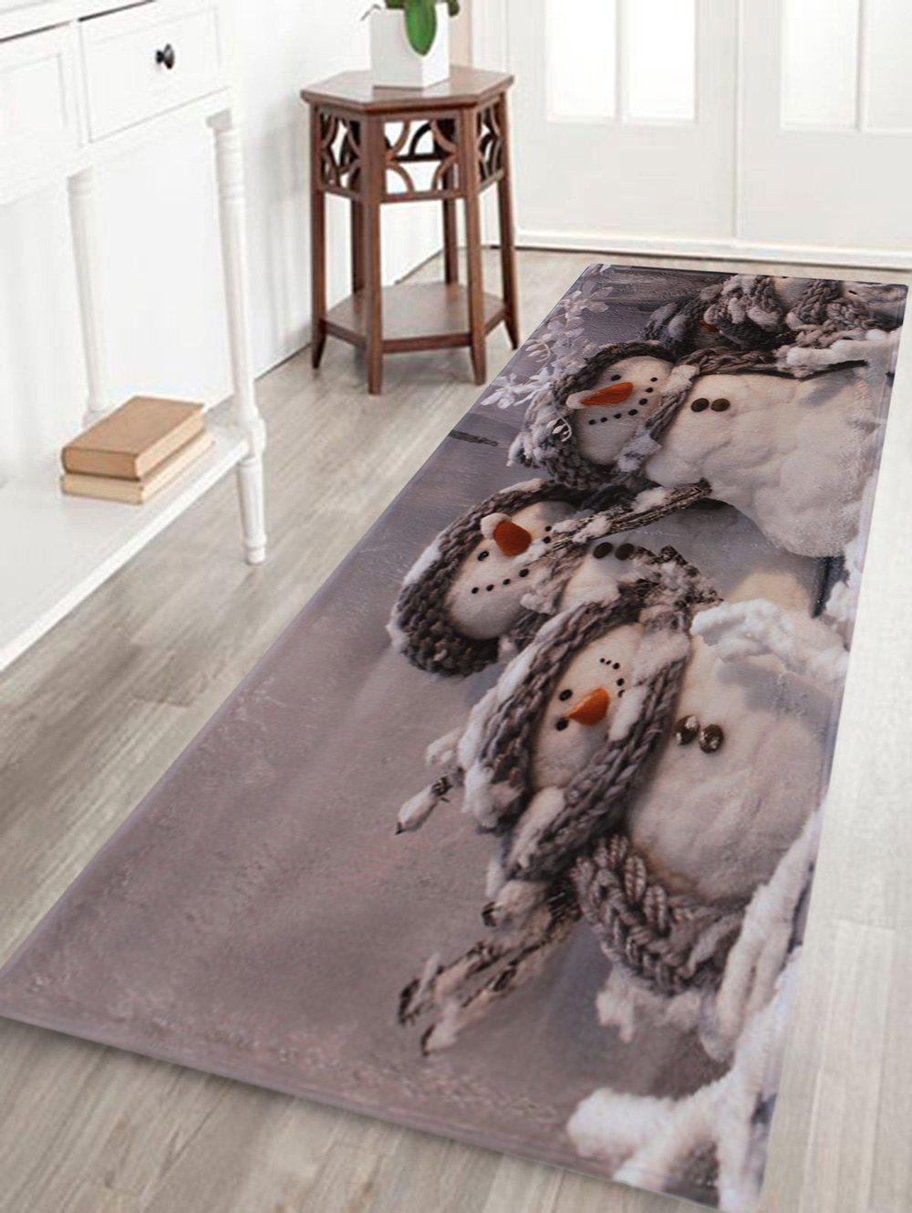 Winter Snowmen Print Anti-skid Water Absorption Area RugHOME<br><br>Size: W24 INCH * L71 INCH; Color: GRAY; Products Type: Bath rugs; Materials: Coral FLeece; Style: Trendy; Shape: Rectangle; Package Contents: 1 x Rug;