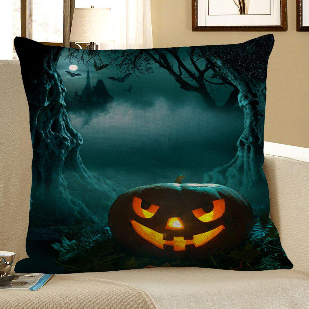Halloween Pumpkin Cave Pattern Square Pillow CaseHOME<br><br>Size: 45*45CM; Color: DEEP GREEN; Material: Polyester / Cotton; Pattern: Pumpkin; Style: Trendy; Shape: Square; Weight: 0.1200kg; Package Contents: 1 x Pillow Case;