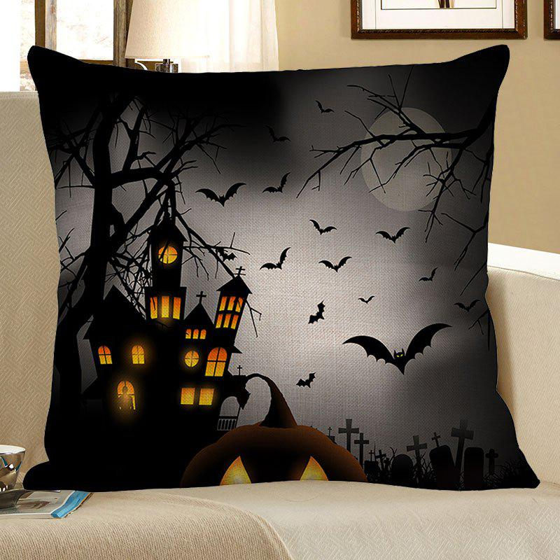 Chic Halloween Tower Bat Printed Pillow Case