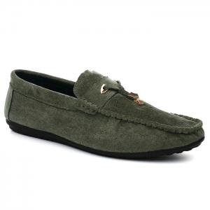 Pebbled Faux SuedeTie Moccasins - Green - 40