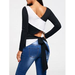 Cross Lace Up Back Long Sleeve T-shirt