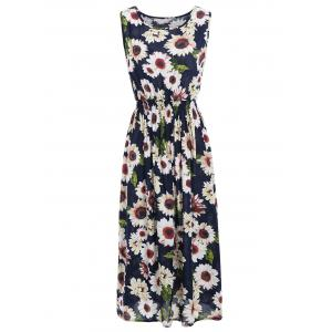 Sunflower Print Elastic Waist Sleeveless Maxi Dress