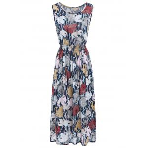 Flower Print Elastic Waist Sleeveless Maxi Dress