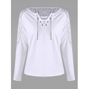 Long Sleeve Lace Insert T-shirt