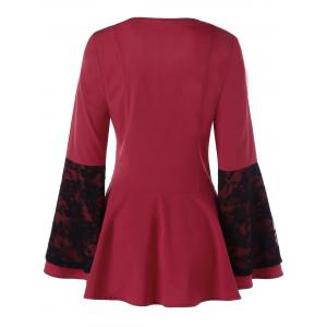 Lace Panel Lace Up Peplum Top - RED XL
