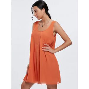 Sweet Solid Color U-Neck Elastic Waist Mini Dress For Women -