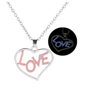 Love Glow in the Dark Heart Necklace - Silver - 41