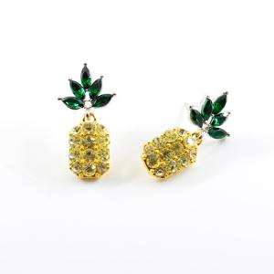 Rhinestone Pineapple Earring and Necklace Set - YELLOW