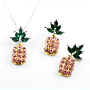Rhinestone Pineapple Earring and Necklace Set - Pink