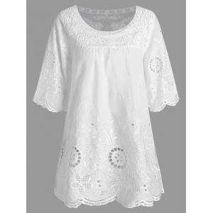 See Thru Floral Crochet Plus Size Top - White - 3xl