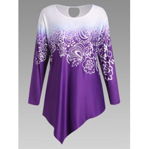Floral Ombre Long Sleeve Plus Size Asymmetric Top