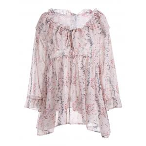 Printed Semi Sheer  Plus Size Chiffon Ruffle Top