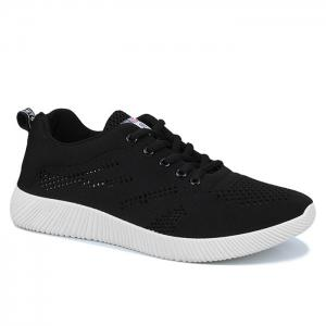Tie Up Breathable Casual Shoes - Black - 41