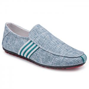 Stripe Trim Slip On Casual Shoes - Blue - 44