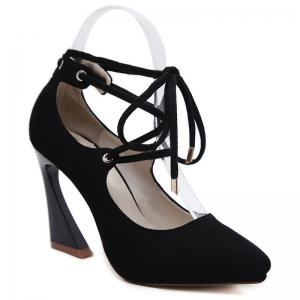 Lace Up Suede High Heel Pumps - Black - 40