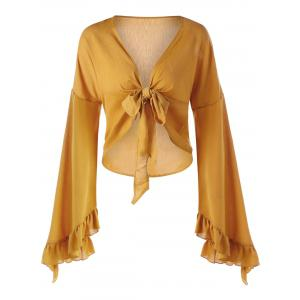 Plunge Ruffled Bowknot Bell Sleeve Blouse