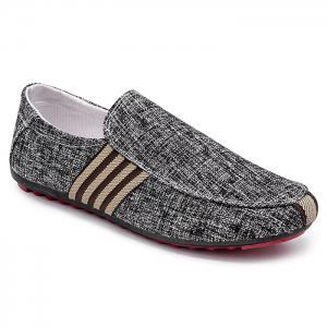 Stripe Trim Slip On Casual Shoes - Black - 40