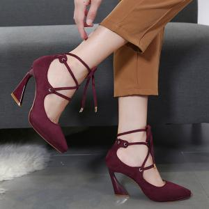 Lace Up Suede High Heel Pumps - WINE RED 39