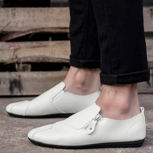 Zip Faux Leather Slip On Shoes - Blanc 40