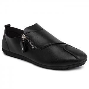 Zip Faux Leather Slip On Shoes - Black - 41
