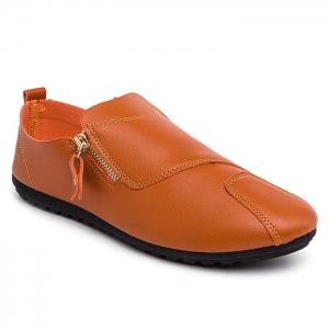 Zip Faux Leather Slip On Shoes - Bright Orange - 40
