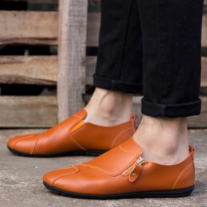 Zip Faux Leather Slip On Shoes -
