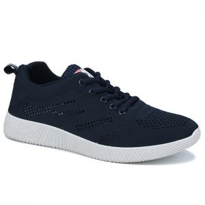 Tie Up Breathable Casual Shoes - Deep Blue - 44