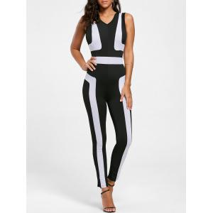 Color Block Skinny Jumpsuit - Black - Xl