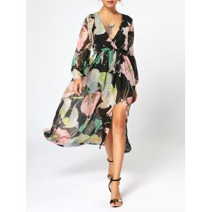 Long Sleeve Chiffon Maxi Flower Surplice Dress - Floral - M
