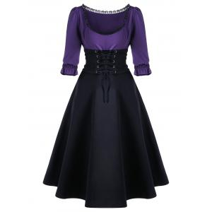 Corset Waist Lace Up Midi Skater Party Dress - Black And Purple - 2xl
