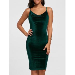 Cut Out Velvet Bodycon Dress - Blackish Green - S